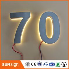 Custom Home decor stainless steel numbers warm white LED house number outdoor Door Number Sign, Door Numbers, Led House Numbers, Electronic Signs, Cheap Houses, Lamp Light, Light Led, Plein Air, Decoration