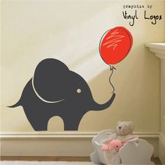 LARGE ELEPHANT ART BEDROOM MURAL STENCIL WALL STICKER TRANSFER VINYL DECAL | eBay