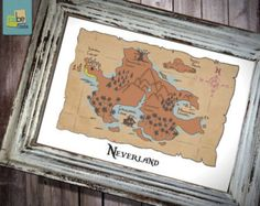 Neverland Disney Peter Pan inspired Baby Children Boy or Girl Birth Gift idea Nursery room wall art decor - Print 11x17 -