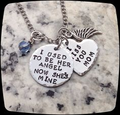 Memorial Jewelry, I used to be her angel now she's mine, Remembrance Necklace, Loss of Mom, Loss of Grandma Funeral Gift