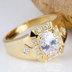 Men Wide Cross Shape White Topaz Black Onyx Blue Sapphire 18K Gold Filled Ring R117 GFLM Size 10 11 12 J8163 Grandfather - V-Shop