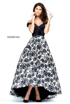 Sherri Hill #50714 Audrey Length Black and White Ballgown for Formal Homecoming #ipaprom #sherrihill
