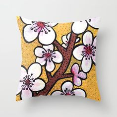 Cherry Blossoms Throw Pillow by claudineintner Cherry Blossom, Art Decor, Colorful, Throw Pillows, Painting, Toss Pillows, Cushions, Painting Art, Decorative Pillows