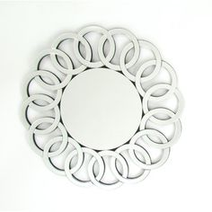 Enchant your contemporary decor with the beautiful Wayborn Round Beveled Mirror . Featuring a frameless beveled edge, this round mirror. Sunburst Mirror, Round Wall Mirror, Wall Mounted Mirror, Floor Mirror, Round Mirrors, Wall Mirrors, Console Mirror, Mirror Room, Diy Mirror
