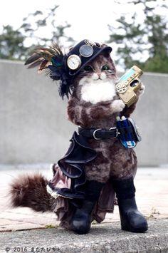 羊毛フェルト スチームパンク 猫 人形