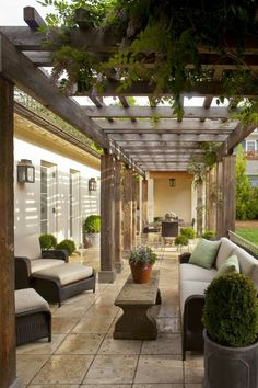 Gardening and Landscaping Outdoor Rooms - Patios :: Muse Architects, home of Loi Thai of Tone on Tone travertine/cedar pergola Outdoor Kitchen Patio, Indoor Outdoor Living, Outdoor Rooms, Backyard Patio, Outdoor Decor, Desert Backyard, Outdoor Patios, Backyard Landscaping, Gazebos