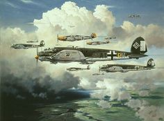 Out for Trouble, by Heinz Krebs. Heinkel He111 medium range bombers of KG 53 cross the Channel coast. The yellow-nosed Messerschmitt Bf 109 fighters of JG 26, led by their legendary general, Adolf Galland, sweep through the bomber formation.