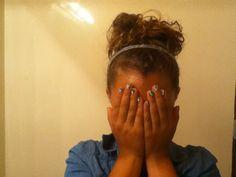 Messy top knot bun on me!!!! ;D