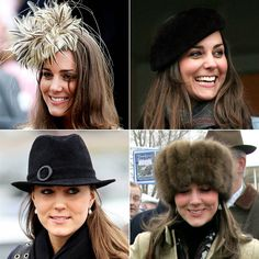 Kate's a hat fanatic  The bride-to-be has been spotted in all manner of hats -- from fanciful wedding fascinators to berets and fedoras. Many of them, like the one top left, are designed by Philip Treacy, who counts Lady Gaga, Sarah Jessica Parker and Kate Moss among his top clients.