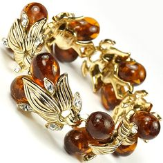 Trifari 'Alfred Philippe' Gold and Poured Glass Topaz Berry Cluster Bracelet, 1950's