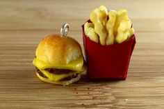 Cheeseburger and french fry set polymer clay necklace charms or key ring
