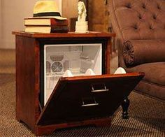 nightstand fridge by man table--finally a father's day gift for the man that has everything!