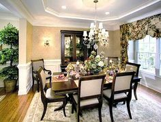 Formal Dining Room ~ I like this for the formal dining room, but with a more contemporary & colorful rug and valence.