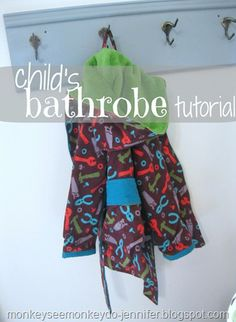 How to make a child's bathrobe with an attached belt, a contrasting fuzzy hood and a lining.