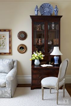 View the portfolio of interior designer Deborah Leamann Interior Design in Pennington, NJ Desk In Living Room, Living Room Furniture, Living Room Decor, Antique Secretary Desks, Asian Interior Design, Interior Design Portfolios, Desk Inspiration, Traditional Decor, White Decor