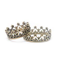 Conjuntoanele anel defalange de coroa vazado.