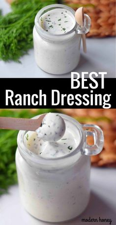 Homemade Ranch Dressing made with fresh herbs is way better than what you find in the store. A combination of mayonnaise, buttermilk, and sour cream with all kinds of herbs and spices makes this the perfect ranch dressing recipe. Best Ranch Dressing, Buttermilk Ranch Dressing, Ranch Salad Dressing, Longhorn Ranch Dressing Recipe, Pioneer Woman Ranch Dressing, Restaurant Ranch Dressing, Outback Ranch Dressing, Mediterranean Salad Dressing, Gourmet
