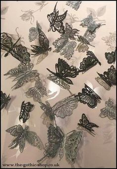 Black and Silver butterflies made from Claire Bowman Cake Lace.