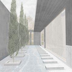 Entwurf Trauerhalle Zwischenraum Perspektive