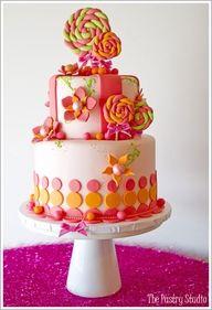 Pink and grey polka dot cake.