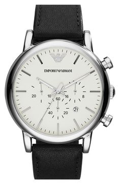 Men's Emporio Armani Chronograph Leather Strap Watch, 46mm