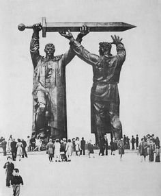 """""""Rear - Front"""" monument is a first part of a triptych dedicated to the Great Patriotic War. The monument is located in Magnitogorsk and symbolize a worker giving a sword to a soldier. Statues, Art Nouveau, Photos Originales, Socialist Realism, Soviet Art, Art Sculpture, Human Sculpture, Diorama, Environment Design"""
