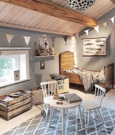 Love the pennant banner in this boy room | love this little bed | kids room
