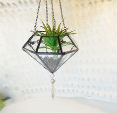 Items similar to Terrarium, water glass terrarium, geometric diamond shape plant holder on Etsy Broken Glass Art, Sea Glass Art, Mosaic Glass, Shattered Glass, Fused Glass, Hanging Terrarium, Glass Terrarium, Glass Art Pictures, Stained Glass Crafts