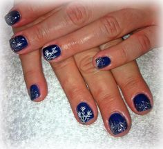 Midnight blue with white snowflakes!