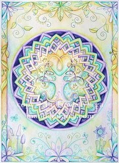 Sorte de cercle sacré, il reflète la structure concentrique de l'univers et contient la représentation des divinités bouddhiques. Il est associé à des exercices de visualisation, au cours desquels le méditant cherche à créer des images mentales de Bouddha et des bodhisattva. Le mandala conduit ainsi le fidèle sur le chemin de l'éveil