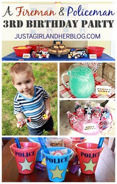 This adorable fireman and policeman-themed birthday party includes everything from themed drinks and snacks to super cute party favors! | JustAGirlAndHerBlog.com