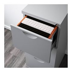 IKEA - ERIK, File cabinet, , Drawers for hanging files make it easy to sort and store important papers.All three drawers can be locked.Drawer stops prevent the drawer from being pulled out too far.