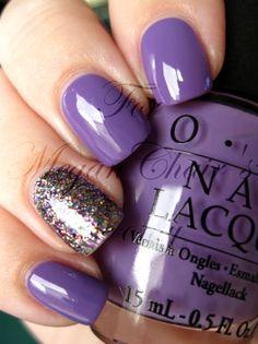accent nail #purple #glitter #OPI