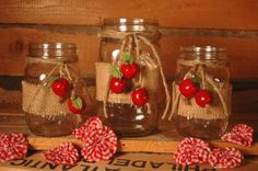 Apple Harvest collection of decorated Mason Jars by PineknobsAndCrickets, $28.00