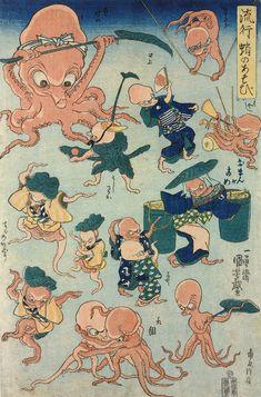 Utagawa Kuniyoshi - Ryuko tako no asobi (Fashionable Octopus Games) 1840-42