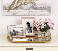 Ciel Metal Mirrored Scalloped Decorative Tray - Rose Gold / 12x18