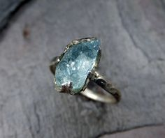Raw Uncut Aquamarine rough Sterling Silver Cocktail by byAngeline, $160.00