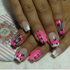 Nancy Nails, Natural Acrylic Nails, Flower Nail Art, Hot Nails, Nail Art Hacks, Nail Arts, Manicure And Pedicure, Nail Art Designs, Hair Beauty
