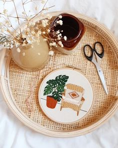 Embroidery Materials, Modern Embroidery, Embroidery Patterns, White Room Decor, Earthy Home Decor, Woven Chair, Types Of Stitches, Embroidery Techniques, Cool Patterns