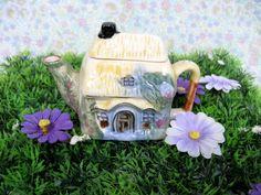 Teapot Trinket - Teapot Box - Ceramic Trinket Box - Vintage Trinket Box - Jewelry Box - Teapot Ornament - Teapot Gift - Country Cottage by MissieMooVintageRoom on Etsy