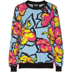Markus Lupfer Anna printed neon cotton-jersey sweatshirt ($126) ❤ liked on Polyvore featuring tops, hoodies, sweatshirts, sky blue, neon tops, sweat tops, sweatshirts hoodies, sweat shirts y loose fit tops
