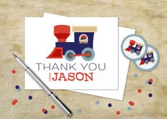 Custom Birthday Thank You | Train and Conductor Personalized Thank You Card