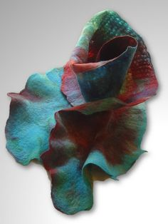 Blue Rose hand felted ruffled scarf by InnovativeArtWear on Etsy