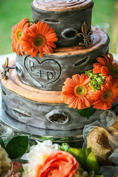 Tree wedding cake - Recent wedding cake done for an outdoor rustic wedding.  This is one of the professional photos from the photographer Lainey Reed Photography.  Love this shot.   Wasc with almong filling for one layer and two layers of Pistachio- Cardamon with caramel filling