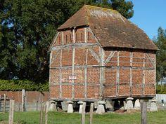 raised staddle stone barn