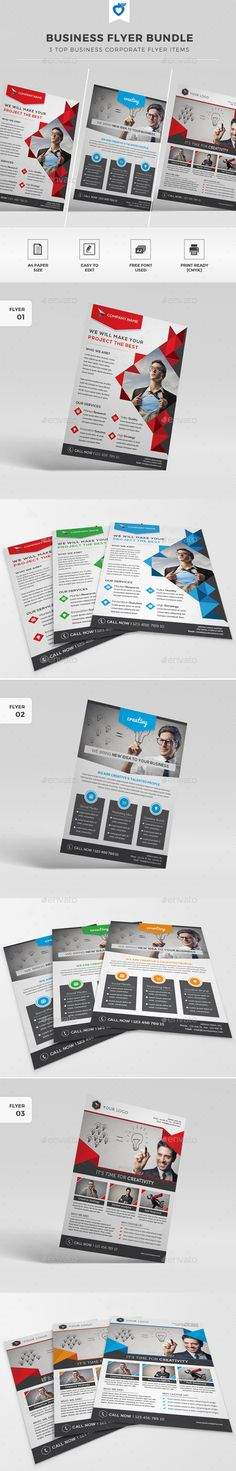 Buy Flyer Bundle by LeafLove on GraphicRiver. This layout is suitable for any project purpose. Business Flyer Templates, Business Card Design, Box Templates, Event Flyers, Flyer Design, Layout, Corporate Business, Triangle, Fonts