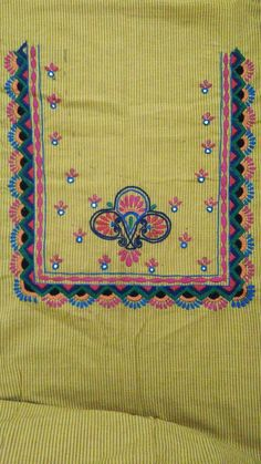Border Embroidery Designs, Kurti Embroidery Design, Simple Embroidery, Hand Embroidery Stitches, Machine Embroidery, Hand Embroidery Dress, Embroidery On Kurtis, Hand Embroidery Videos, Beaded Embroidery