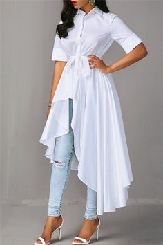 Belted Irregular Shirt Dress - - From dream wedding dresses and party dresses to perfect prom dresses and evening dresses, you're sure to find a fabulous style to match every occasion. Stylish Dress Designs, Stylish Dresses, Hijab Fashion, Fashion Dresses, Fashion Clothes, Women's Fashion, Sheer Maxi Dress, Belted Dress, Vetement Fashion