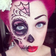 Here's my half sugar skull look from Halloween : )