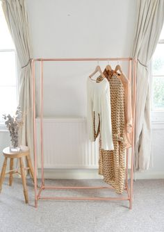 Hotel Porter Style Copper Pipe Clothing Rail / Garment Rack / Clothes Storage